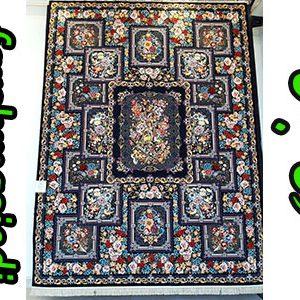 فرش ماشینی کاشان طرح باغ بهرنگ سرمه ای