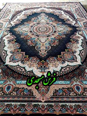فرش ماشینی 1000 شانه کاشان طرح دیبا سرمه ای