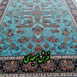 فرش ماشینی 1000 شانه کاشان طرح قاب بهشت آبی