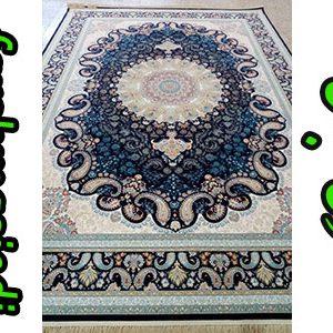 فرش ماشینی 1000 شانه کاشان طرح نهال سرمه ای
