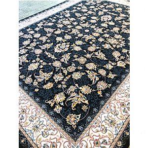 فرش ماشینی کاشان طرح افشان شهریار سرمه ای
