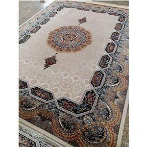 فرش ماشینی کاشان طرح هالیدی کرم