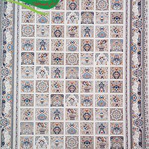 فرش ماشینی 1200 شانه طرح باغ فین کرم