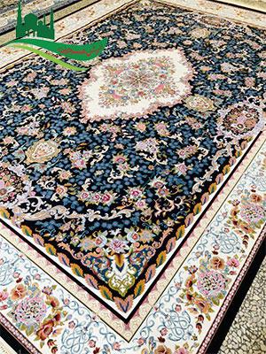 فرش ماشینی 1000 شانه ماه گل سرمه ای