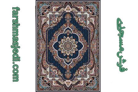 فرش ماشینی 700 شانه قاب بهشت سرمه ای