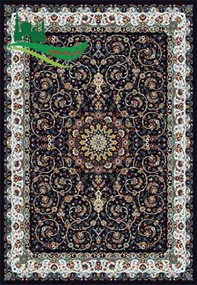 فرش ماشینی گل نقش سرمه ای