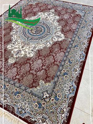 فرش ماشینی طرح نیلوفر لاکی