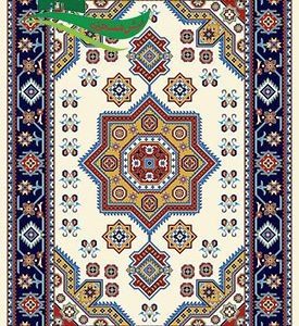گلیم فرش ستاره سرمه ای